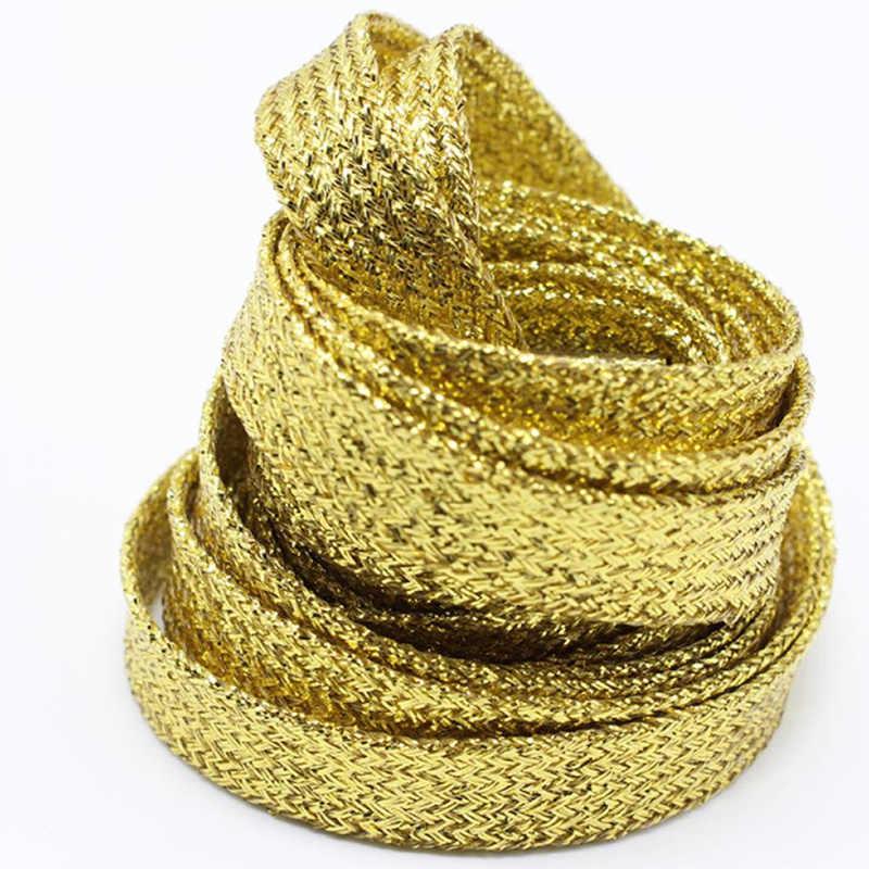 1 זוג 115cm מבריק ספורט סניקרס שטוח שרוכי זהב כסף חבל שרוכי שרוכי מיתרים Dropshipping