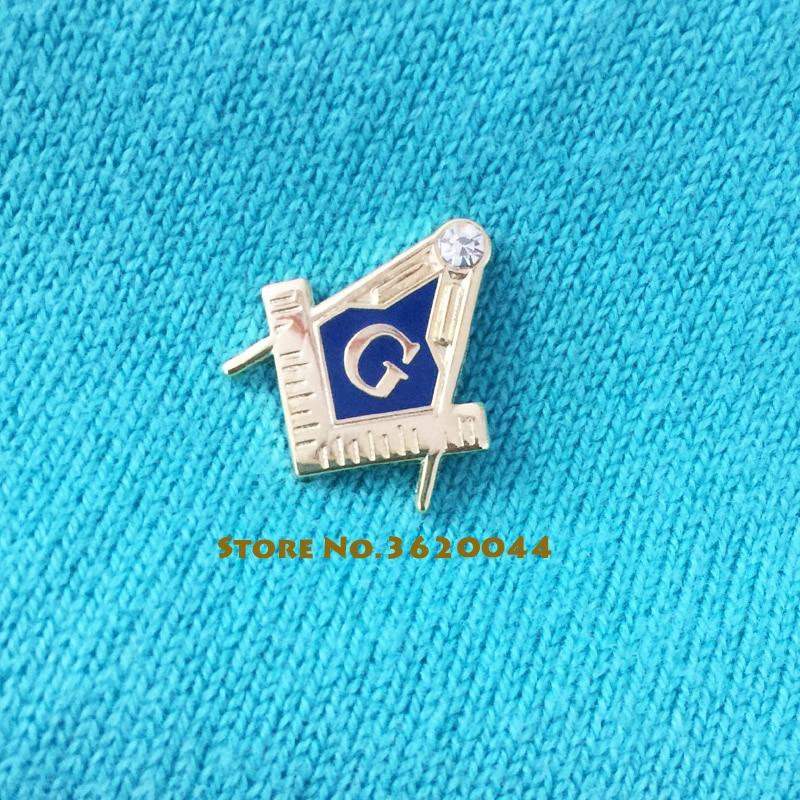 US $49 0  50pcs Custom Masonic Pins Free Masons Cloisonne Square and  Compass Lapel Pin Blue Lodge Enamel Rhinestone Brooch Metal Badge-in Pins &