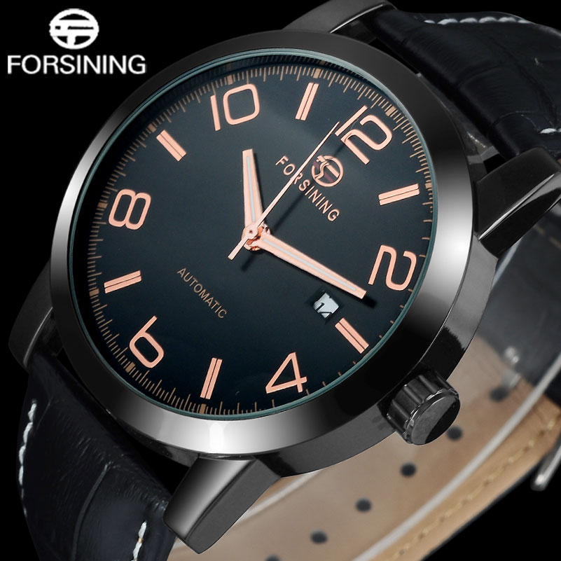 FORSINING Brand Men Dress Mechanical Watches Leather Strap Luxury Casual Men'S Automatic Black Watches Male Date Wristwatches forsining fashion brand men simple casual automatic mechanical watches mens leather band creative wristwatches relogio masculino