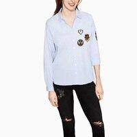 Women Light Blue Badge Patch Shirt 2016 Spring Autumn Turn Down Collar Casual Long Sleeve Blouses