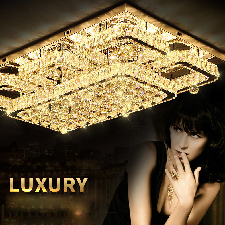Flush Mount Ceiling Light Ceiling Lamp Modern Lighting Chrome Light Dimmable LED Luxury K9 Crystal LED Ceiling lamp for Bedroom