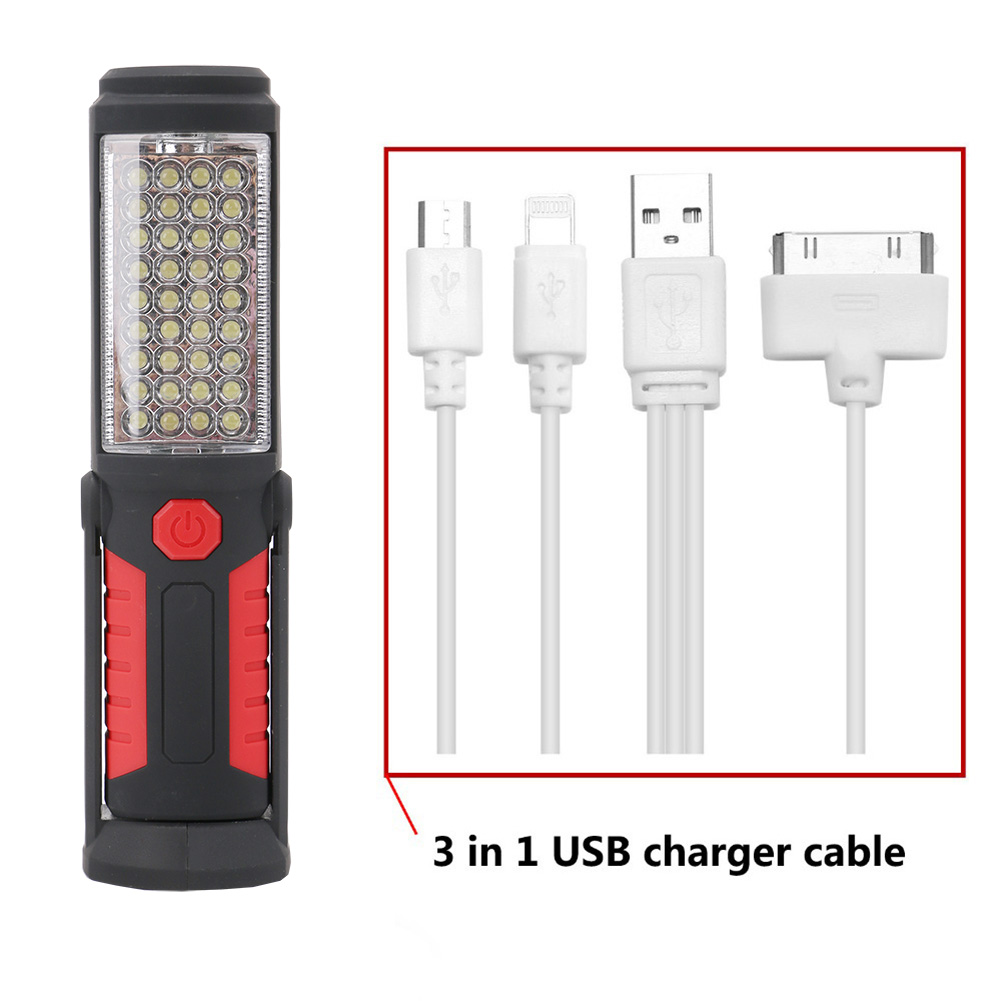 Portable 36+5LED LED COB Night Light USB Rechargeable Flashlight Torch Lantern Camping Work Lamp Built-in Battery Magnet Hook zpaa 2017 portable 3w cob led camping work inspection light lamp usb rechargeable pen light hand torch with usb cable