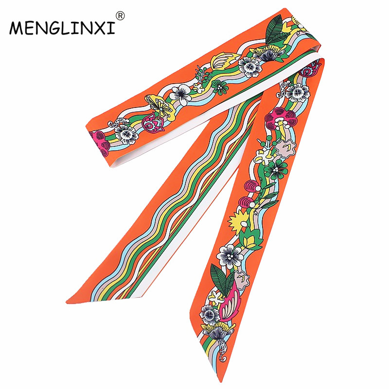 New Scarf 120cm Wave Pattern Print Women Small Silk Scarf Luxury Brand Bag Ribbons Fashion Head Scarf Hot Sale Long Scarves