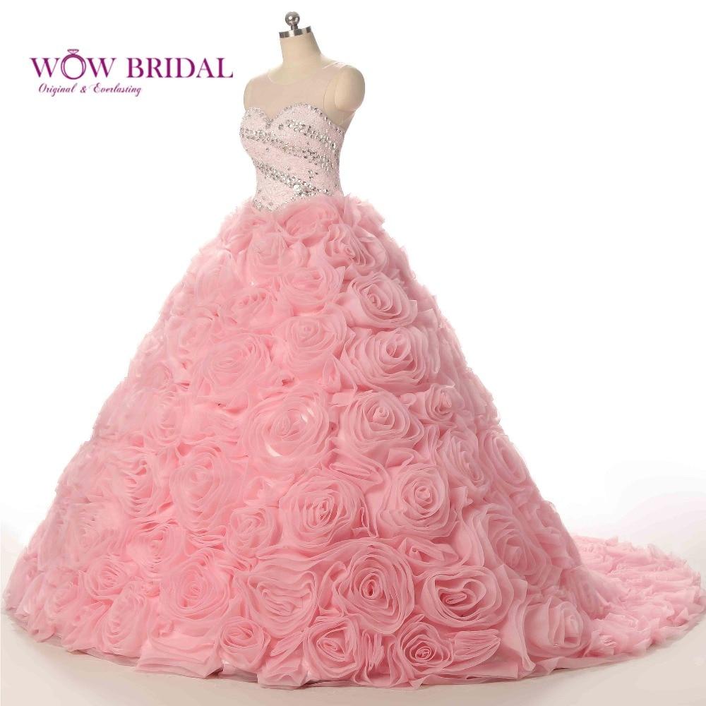 Popular Rose Pink Wedding Dresses Buy Cheap Rose Pink