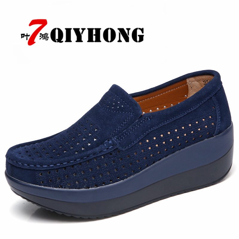 QIYHONG 2018 Autumn Women Flat Platform Loafers Shoes Ladies   Suede     Leather   Footwear Casual Shoes Slip On Flats Moccasin Creepers