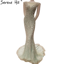 Luxury Sexy Elegant Mermaid Tulle Evening Dress Long Crystal Sequined Sparkly Evening Gowns 2020 Real Photo LA6091