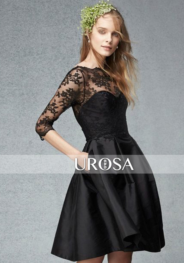 three quarter sleeves Black lace short Cocktail Dresses 2015 new ...