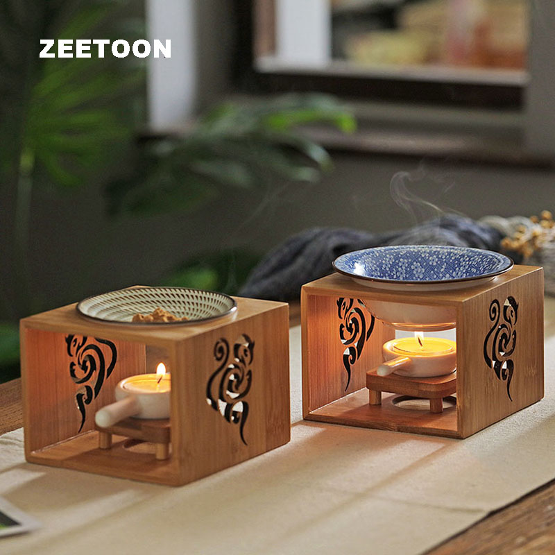Hollow Carving Bamboo Incense Burner Candle Essential Oil Heater Stove Yoga SPA Censer / Home Candlestick Night Light Lamp Decor image