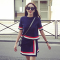 2016 womens knitted two-piece skirt summer new solid color round neck T-shirt + irregular skirts knitted suit female fashion