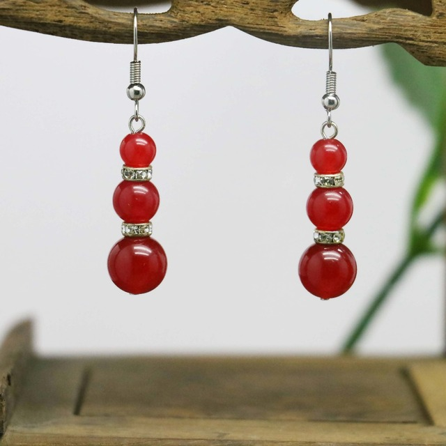 Beautiful Gifts For Women Part - 44: Beautiful 3 Beads Chalcedony Stone Beads Earrings Gifts For Women Girls  Ladies Earbob Eardrop Fashion Jewelry