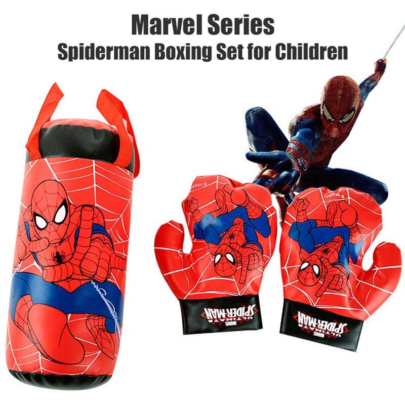 Disney Marvel Spiderman Cotton Gloves Sandbag Set Outdoor Fun Sports Kids Boxing Boys Toys For Chidren Beginner Birthday Gift