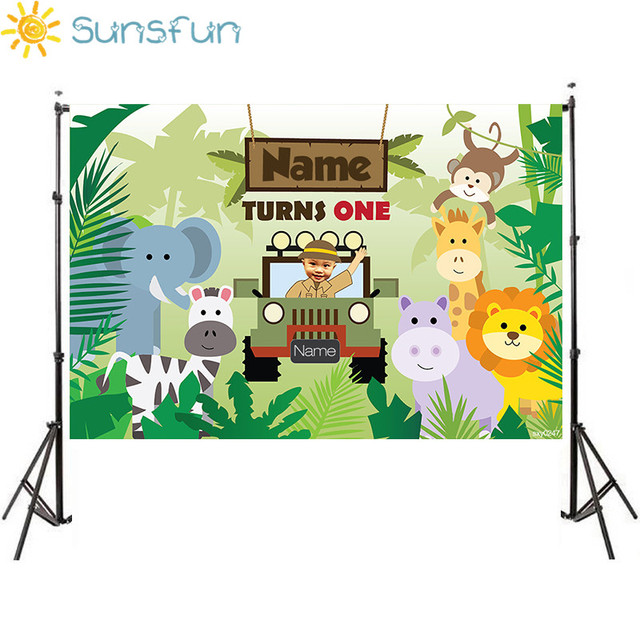 Sunsfun custom birthday stage backdrop for Jungle safari Theme party zoo wild background Newborn Baby Animals Photo Boothsxy0247