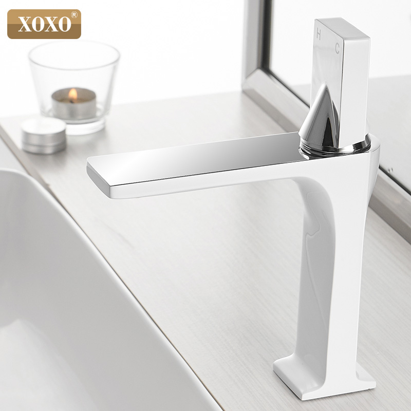 XOXO Basin Faucet Cold and Hot Chrome Single Handle Bathroom Faucet Fashion Water Mixer Taps Deck