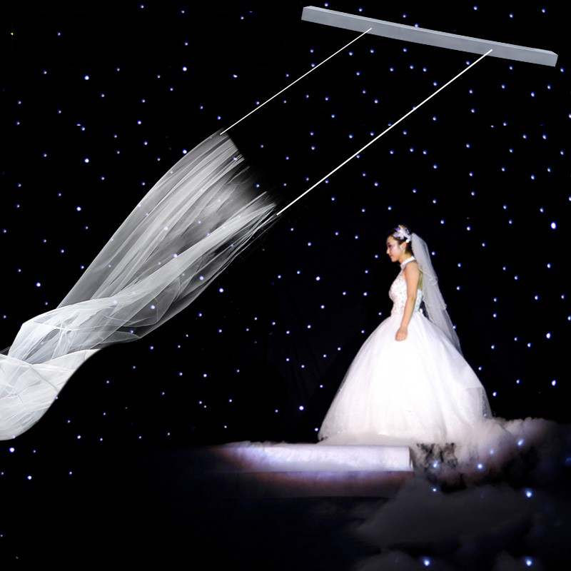 100-240V Remote Control Double Motor Flying Wedding Veils Romantic Wedding Props Y