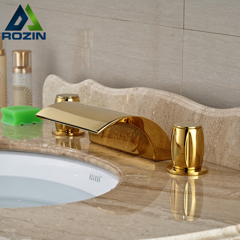 Gold-plate Widespread Three Holes Dual Handles Bathtub Waterfall Basin Faucet Taps фитнес бутылка contigo 386 shake
