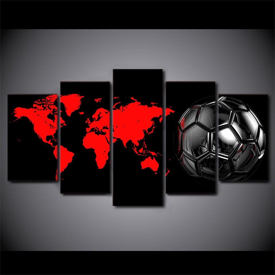 5 pièces noir football carte du monde toile HD imprimé affiche cadre peinture mur Art photos cadre décoration Maison Moderne