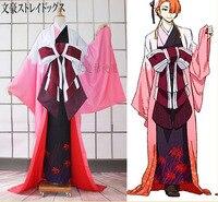 Аниме! Бунго бродячих собак рисунок Ozaki Koyo Higannbana кимоно Косплэй костюм женский полный комплект Индивидуальные Бесплатная доставка