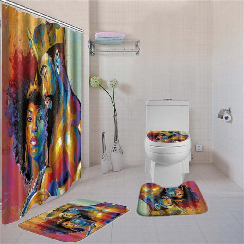 Women Printed Bathroom Curtain Set Made Of Non PEVA Material With Toilet Seat Cover 4