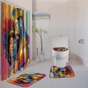 Image 3 - Dafieldアフリカシャワーカーテンセット4個トイレセットトイレカバーバスマットセット浴室付属品カーテンフック