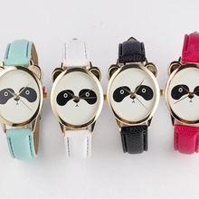 2016 new fashion casual and simple panda face pattern women's watch Neutral Diamond Lovely Panda Face Faux Leather Quartz Watch