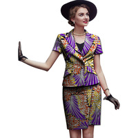 Fashion african bright print elegant women short sleeve tops and skirts set pattern ladies dashiki clothes for party/wedding