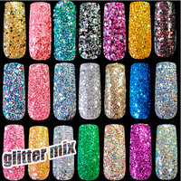 500g/bag Wholesale Mix Color Size Nail Glitter Powder Tips DIY Nail Art Sequins Powder Super Makeup Glitter Manicure Accessories