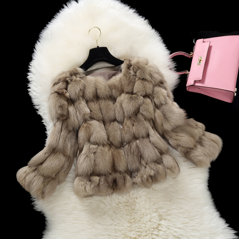 Women's Real Fur Coat O neck Natural Fox Fur Top Striped Fur Coat Genuine Fox Jacket rf0049