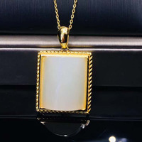 925 Sterling Silver Jade Square Jade Necklace Natural Hetian Jade Pendants Necklace for Women Men Jewelry