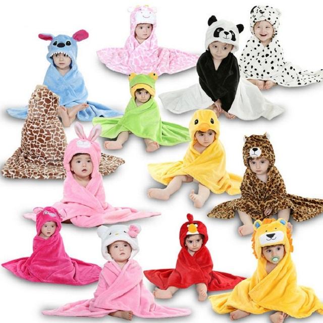 Toalha de Flanela com Capuz de Desenho, Toalha de Bebê, Capa Modelo de Animal, Roupão Toalha de Banho para Bebê, Roupão para Banho 16 Estilos 78cm * 85cm