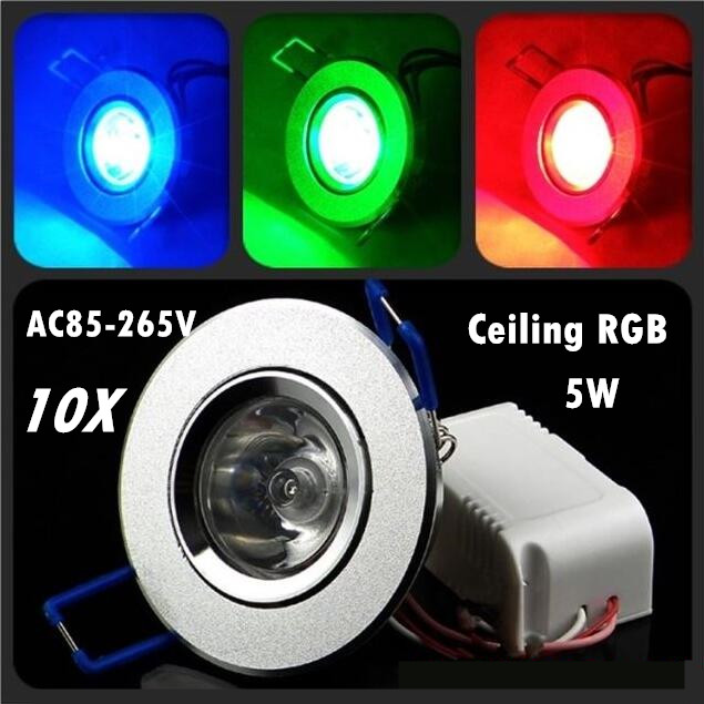 10 unids/lote regulable AC85-265V 5 W techo led downlight RGB ...