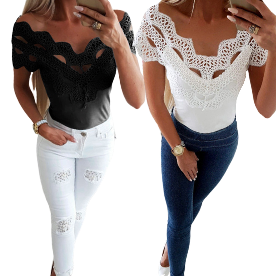 Lace Layer Slim Top Bodycon Shirt Women Vetement Femme 2019 <font><b>Harajuku</b></font> <font><b>Kawaii</b></font> <font><b>Sexy</b></font> Solid Color T Shirt Off Shoulder Elegant Tshirt image