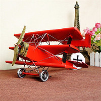 1pc/lot Vintage Metal Model Red Airplane Model Party gift Toy Vehicles Creative Home/Pub/Shop Decoration Retro Aircraft Decor