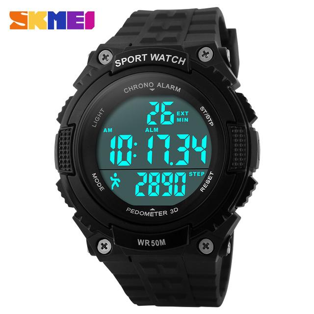 Pedômetro execução relógios homens boy mulheres esporte LED relógio digital de 50 M à prova d' água exército verde preto faixa de borracha relógio SKMEI marca