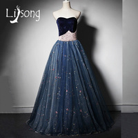 Modern Evening Dress Long Formal Ball Gowns Beaded Pearls Velvet Sweetheart Strapless Formal Dress Long vestido longo de festa