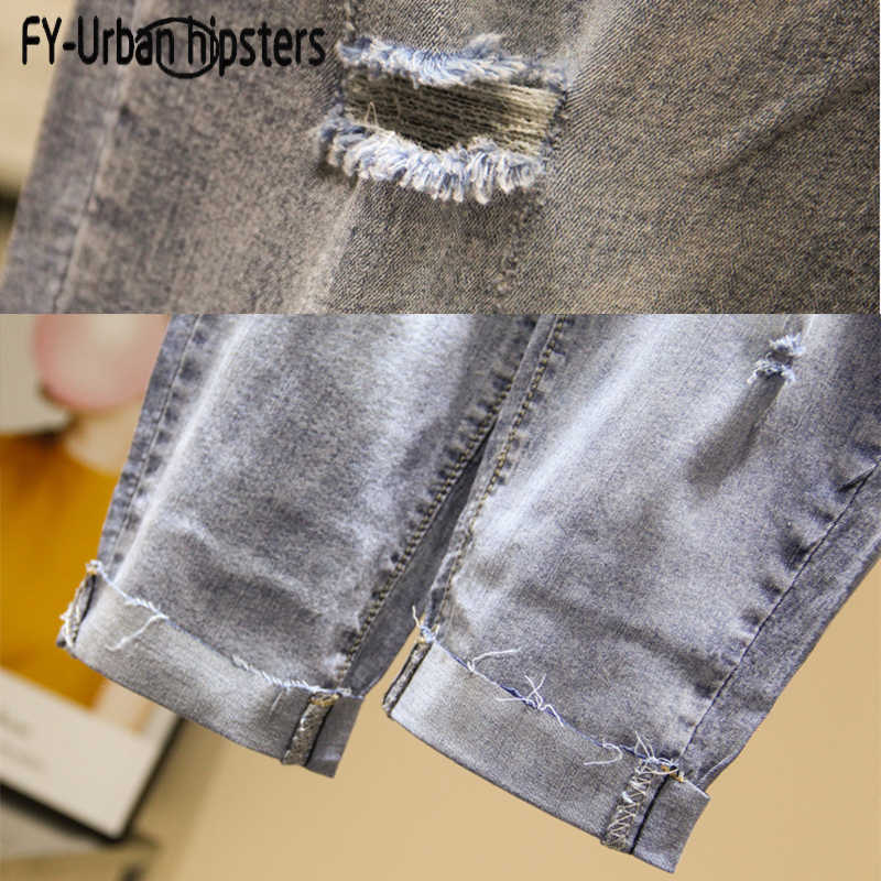 Женские рваные джинсы с высокой талией, летние джинсовые штаны на шнуровке, большие размеры, джинсы с бусинами и вышивкой, женские шаровары длиной до середины икры