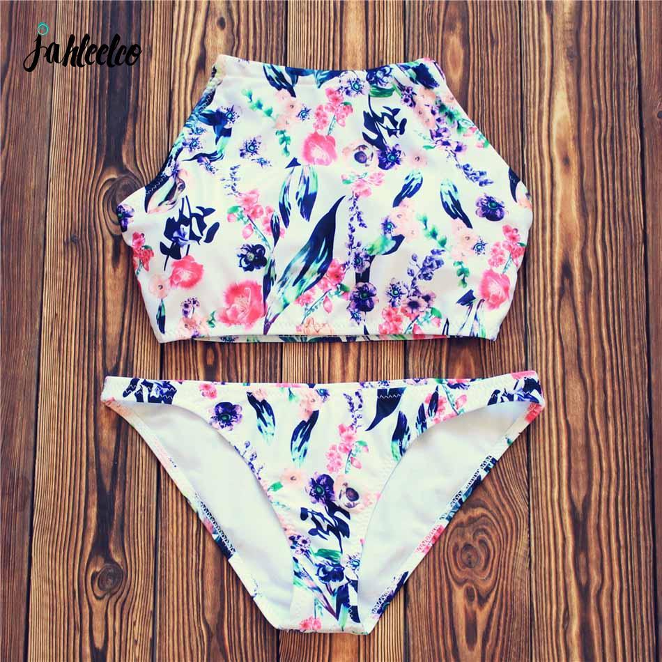 Jahleelco Hot Floral Bikini Swimwear Swimsuit Women Push Up Bikini Set Halter Brazilian Bathing Suit Biquini High Neck Swim Wear endearing halter push up floral bikini and dress swimwear suit for women