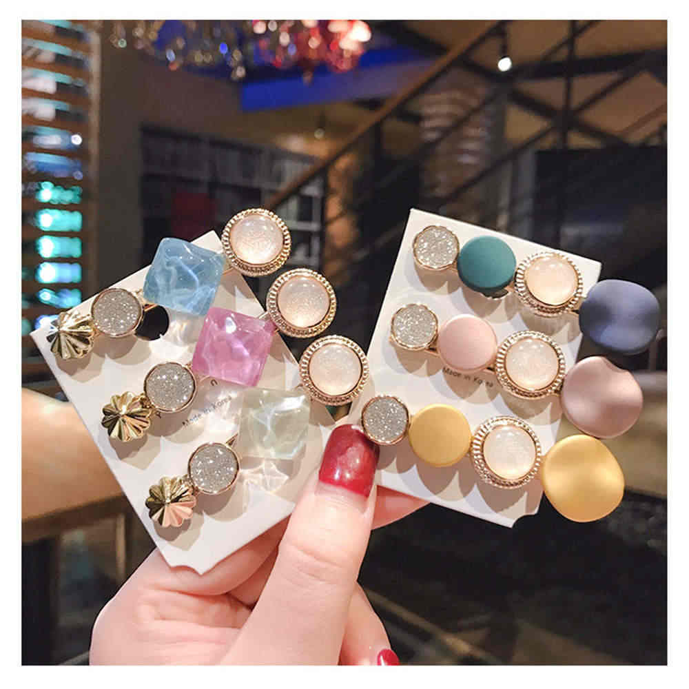 INS 2019 Round Korean Crystal Alloy Hair Clips Macaron Color Barrettes BB Pins Hairpins for Women Girls Hair Accessories