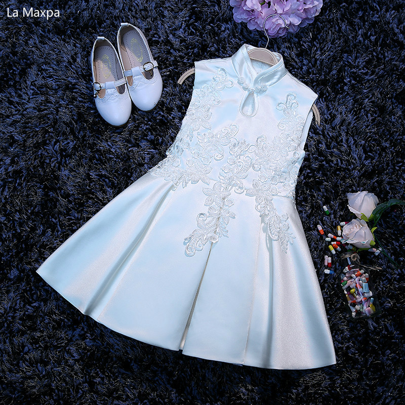 Fashion New Girls White Flower Children Cheongsam Lace Dress Cute Catwalk Tutu Birthday Party Princess Evening Dress hot sale fashion baby girls dress small jacket flower lace tutu princess party dress pink white red purple children clothing