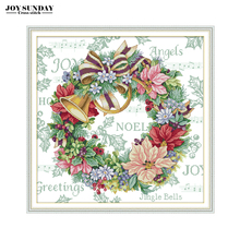 Joy Sunday Holiday Wreath Cross Stitch Patterns Aida 14CT 11CT Printed Canvas for Embroidery DIY Needlework Paintings DMC