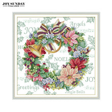 Joy Sunday Holiday Wreath Cross Stitch Patterns Aida 14CT 11CT Printed Canvas for Embroidery Stitch DIY Needlework Paintings DMC(China)