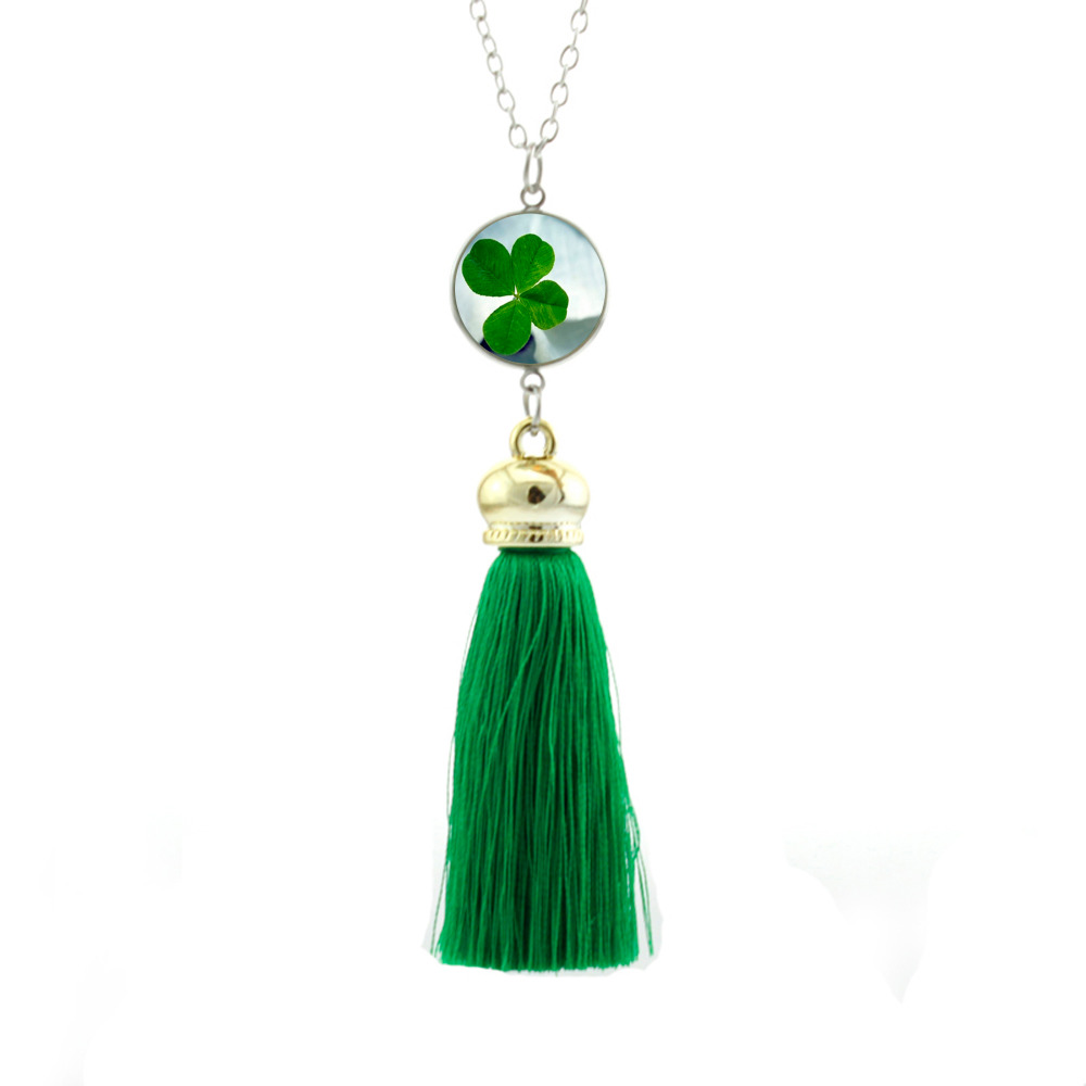 Green lucky shamrock necklace four leaf clover charm emerald green - 2017 New Style Shamrock Clover Necklace Four Leaf Clovers Jewelry Glass Dome Long Tassel Necklaces Lucky Bohemian Chain