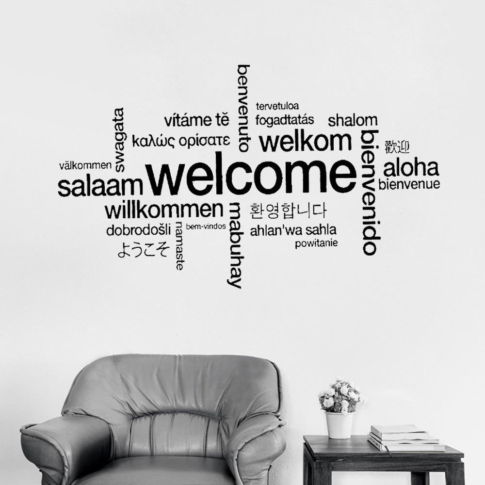 Sinal de boas-vindas muitas línguas adesivo de parede decalque arte vinil mural escritório loja decoração da sua casa bem-vindo diy papel removível lc415