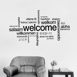 Welcome Sign Many Languages Wall Sticker Decal Art Vinyl Mural Office Shop Home Wall Decor Welcome Diy Wallpaper Removable LC415