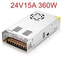 האיכות הטובה ביותר 24V 15A 360W מיתוג אספקת חשמל נהג עבור LED רצועת AC 100 240V קלט כדי DC 24V