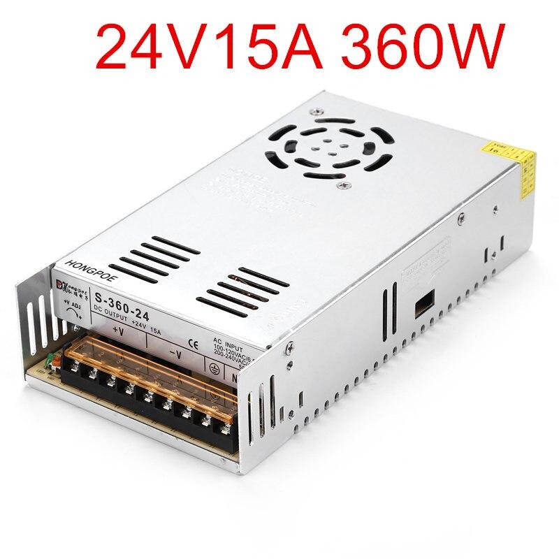 24 В 15а 360 Вт источника драйвер импульсного светодиодной ленты переменного тока 100-240 В вход в постоянный ток 24 В светодиодная лента