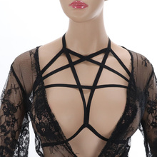Black Sexy Lingerie Wonen Body Harness Pastel Goth Harajuku Bondage Harness Can Adjust Harness Cage Bra Lingerie Hollow out ladder cut out harness lingerie set