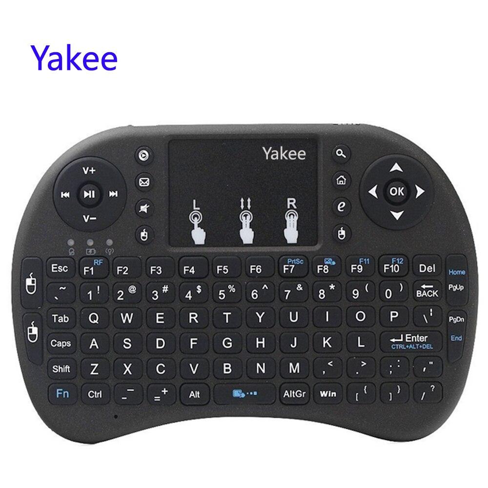 Yakee i8 Drahtlose Tastatur 2,4 GHz Englisch Russisch buchstaben Air Maus Fernbedienung Touchpad Für Android TV Box Notebook