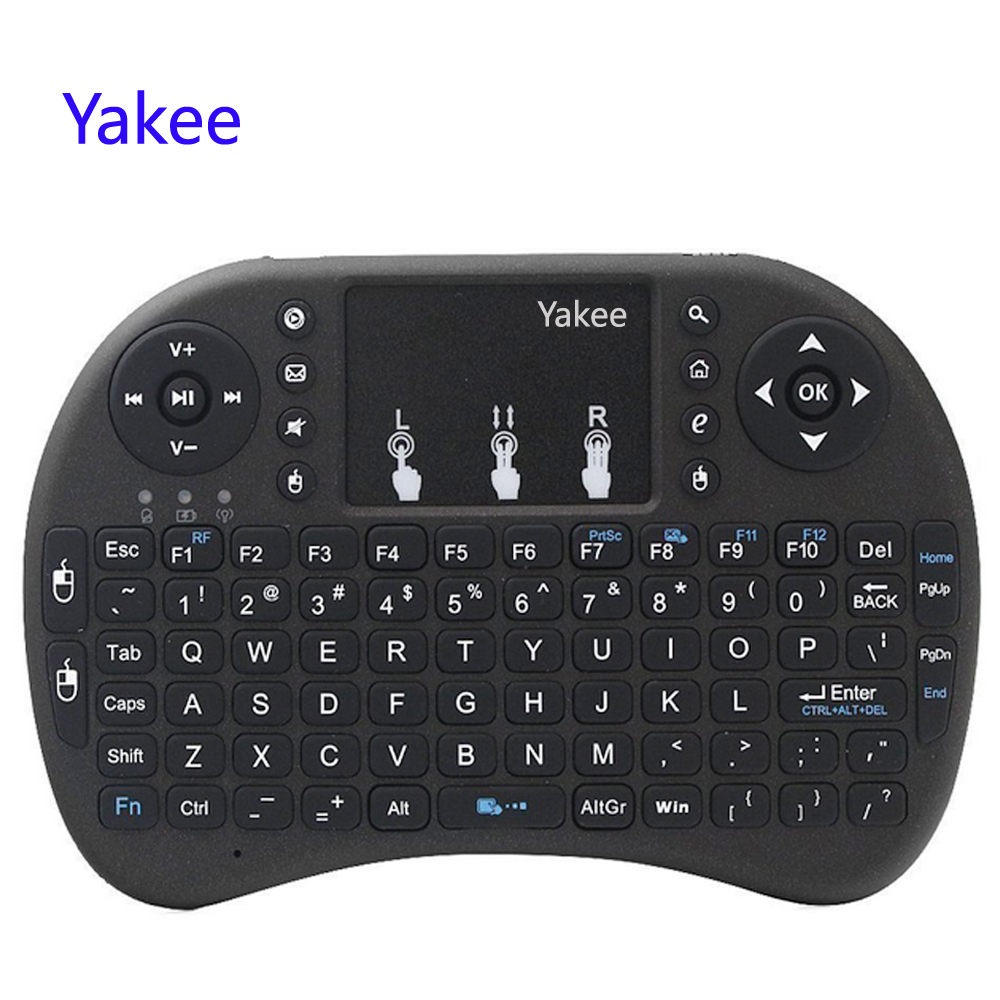 Yakee i8 Teclado Sem Fio 2.4 GHz Russo Inglês letras Air Mouse Controle Remoto Touchpad Para Android TV Box Notebook