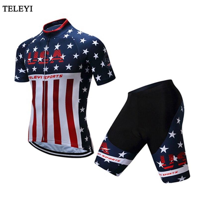 USA Teleyi vêtements de sport en plein air vélo vêtements de cyclisme/vêtements de cyclisme/maillots de cyclisme à manches courtes vélo vélo chemises ensemble short et haut