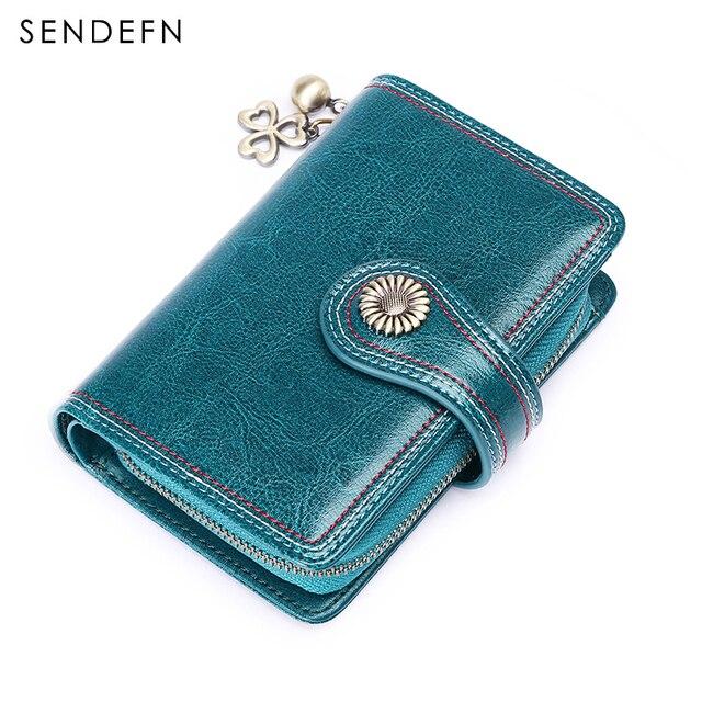 Sendefn Patent Metal Flower Wallet Short Oil Wax Leather Wallet Zipper Button Small Purse Coin Bag Pendent portemonnee 5194-68